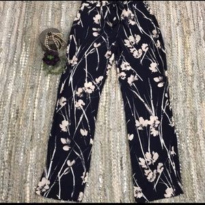 Zara floral wide leg pants